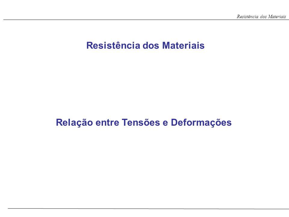 Relação entre Tensões e Deformações Resistência dos Materiais