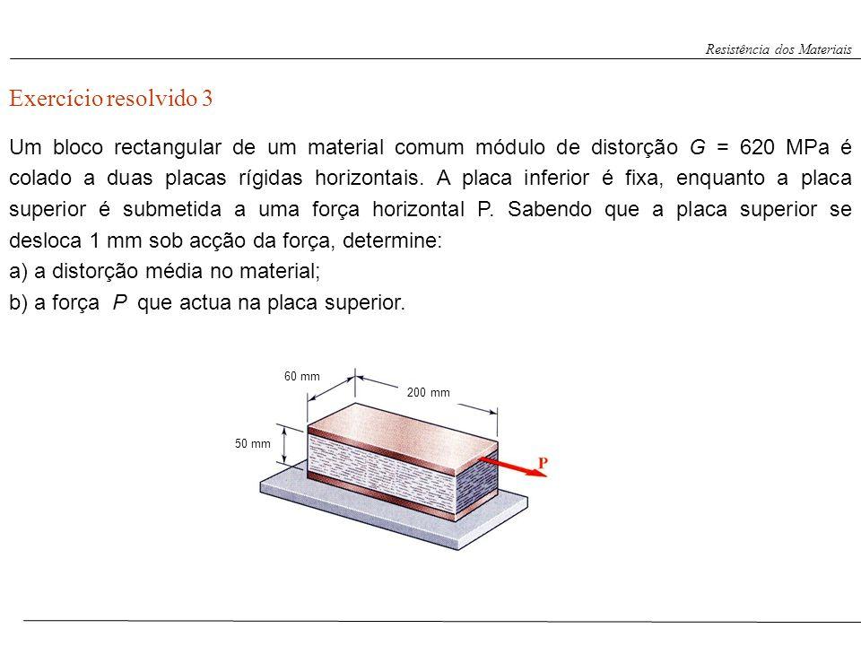 Resistência dos Materiais Exercício resolvido 3 Um bloco rectangular de um material comum módulo de distorção G = 620 MPa é colado a duas placas rígid