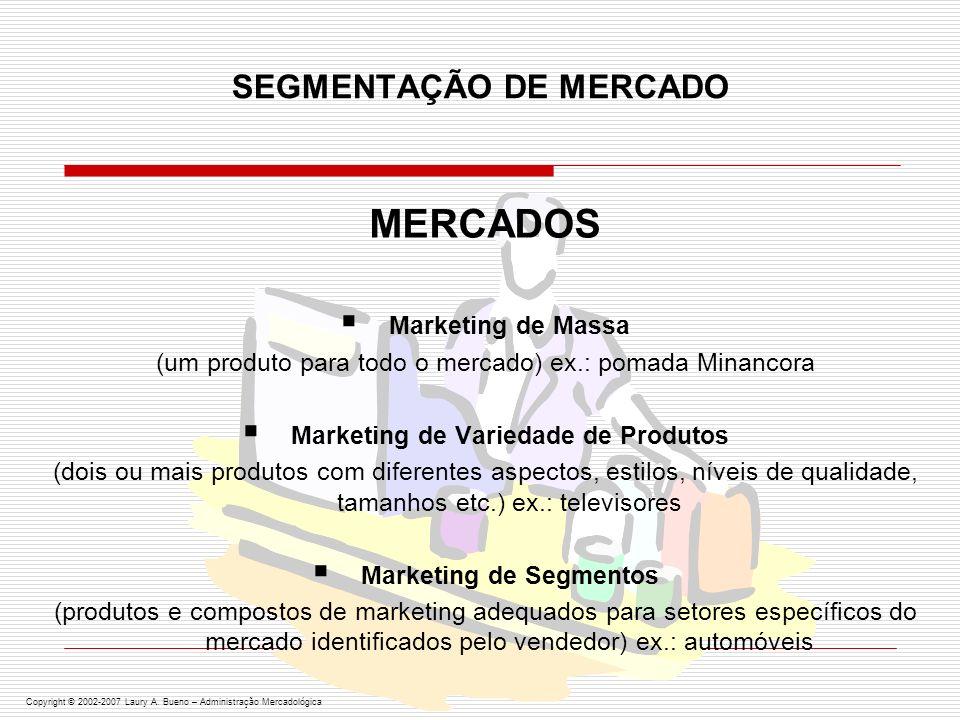 SELECIONANDO OS SEGMENTOS DO MERCADO MARKETING INDIFERENCIADO (concentrar-se no que é comum às necessidades do consumidor) ex.: fermento Royal MARKETING DIFERENCIADO (concentrar-se no que é específico às necessidades do consumidor) ex.: tênis Nike MARKETING CONCENTRADO (tentar uma grande participação em apenas um ou alguns segmentos de mercado) ex.: Coots & Boots Fire Extinguishing Co., Embraer, Maggion IDENTIFICAÇÃO DO PÚBLICO-ALVO