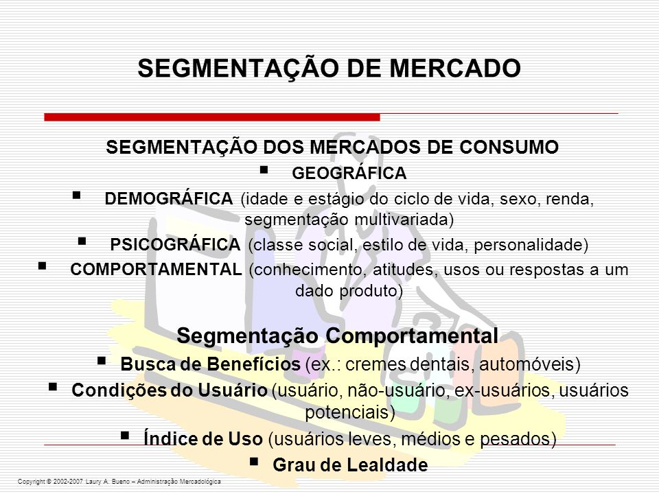 ALGUMAS BASES PARA SEGMENTAÇÃO DE MERCADOS ORGANIZACIONAIS Segmentação Geográfica Tipo de ClienteComportamentodoCompradorOrganizacional Copyright © 2002-2007 Laury A.