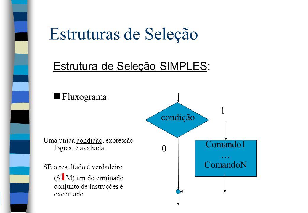 Estruturas de Seleção Estrutura de Seleção SIMPLES: nFluxograma: Comando1 … ComandoN condição 1 0 Uma única condição, expressão lógica, é avaliada. SE