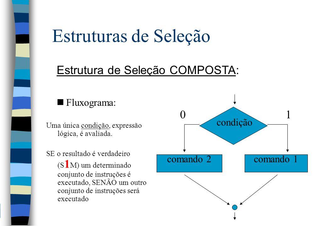 Estruturas de Seleção Estrutura de Seleção COMPOSTA: nFluxograma: Uma única condição, expressão lógica, é avaliada. SE o resultado é verdadeiro (S 1 M