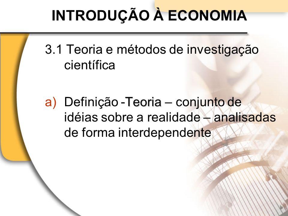 INTRODUÇÃO À ECONOMIA 3.1 Teoria e métodos de investigação científica Teoria a)Definição -Teoria – conjunto de idéias sobre a realidade – analisadas de forma interdependente
