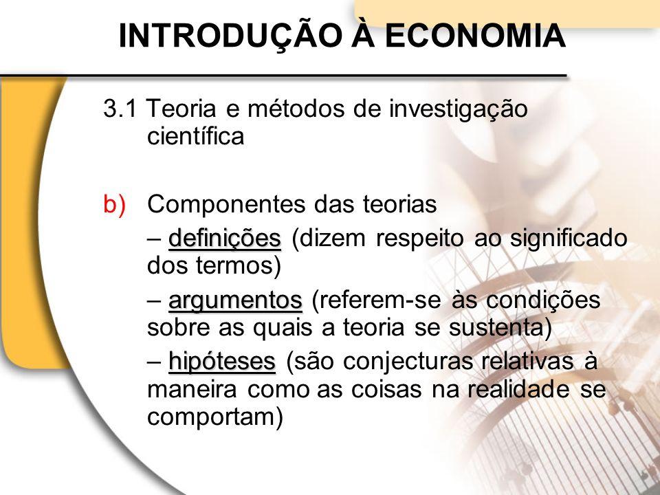 INTRODUÇÃO À ECONOMIA 3.1 Teoria e métodos de investigação científica b)Componentes das teorias definições – definições (dizem respeito ao significado dos termos) argumentos – argumentos (referem-se às condições sobre as quais a teoria se sustenta) hipóteses – hipóteses (são conjecturas relativas à maneira como as coisas na realidade se comportam)