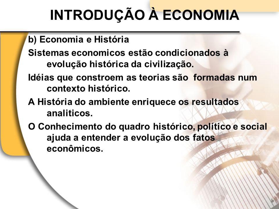 INTRODUÇÃO À ECONOMIA b) Economia e História Sistemas economicos estão condicionados à evolução histórica da civilização.