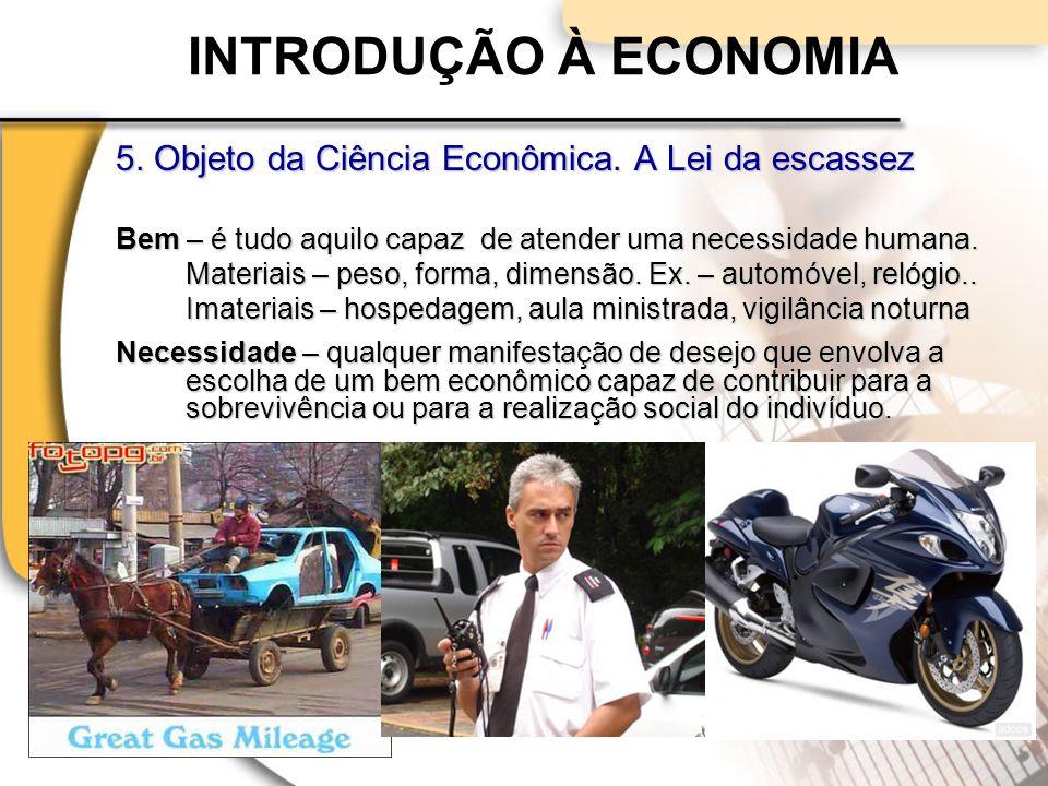 INTRODUÇÃO À ECONOMIA 5.Objeto da Ciência Econômica.