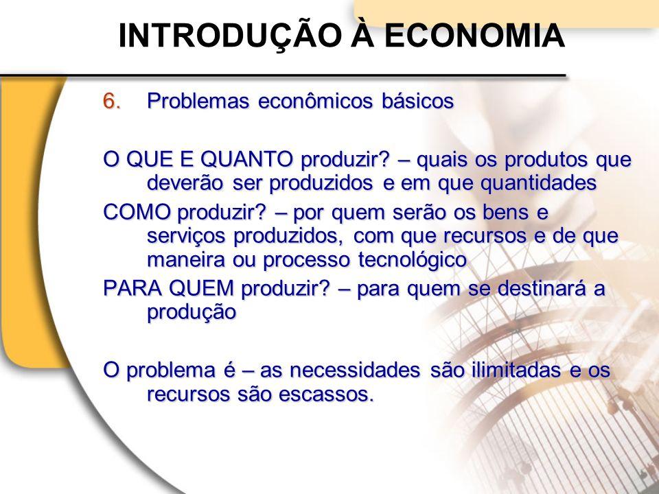 INTRODUÇÃO À ECONOMIA 6.Problemas econômicos básicos O QUE E QUANTO produzir.