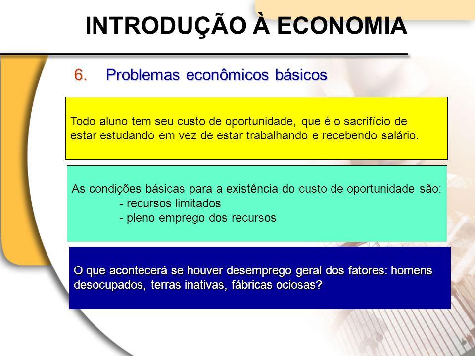 INTRODUÇÃO À ECONOMIA 6.Problemas econômicos básicos Todo aluno tem seu custo de oportunidade, que é o sacrifício de estar estudando em vez de estar trabalhando e recebendo salário.