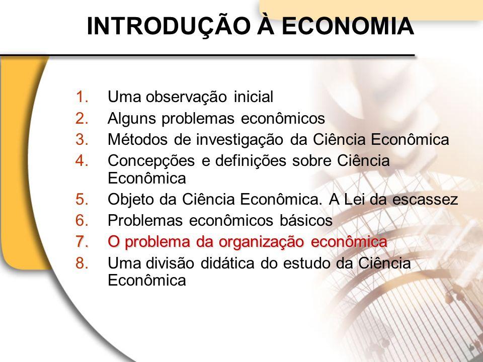 INTRODUÇÃO À ECONOMIA 1.Uma observação inicial 2.Alguns problemas econômicos 3.Métodos de investigação da Ciência Econômica 4.Concepções e definições sobre Ciência Econômica 5.Objeto da Ciência Econômica.