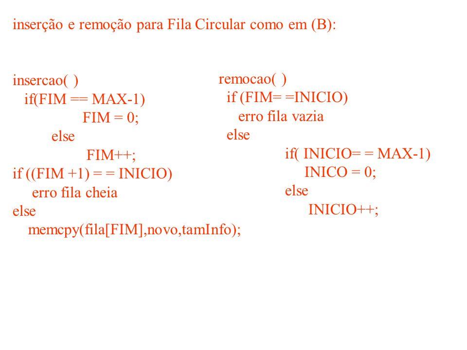 inserção e remoção para Fila Circular como em (B): insercao( ) if(FIM == MAX-1) FIM = 0; else FIM++; if ((FIM +1) = = INICIO) erro fila cheia else mem