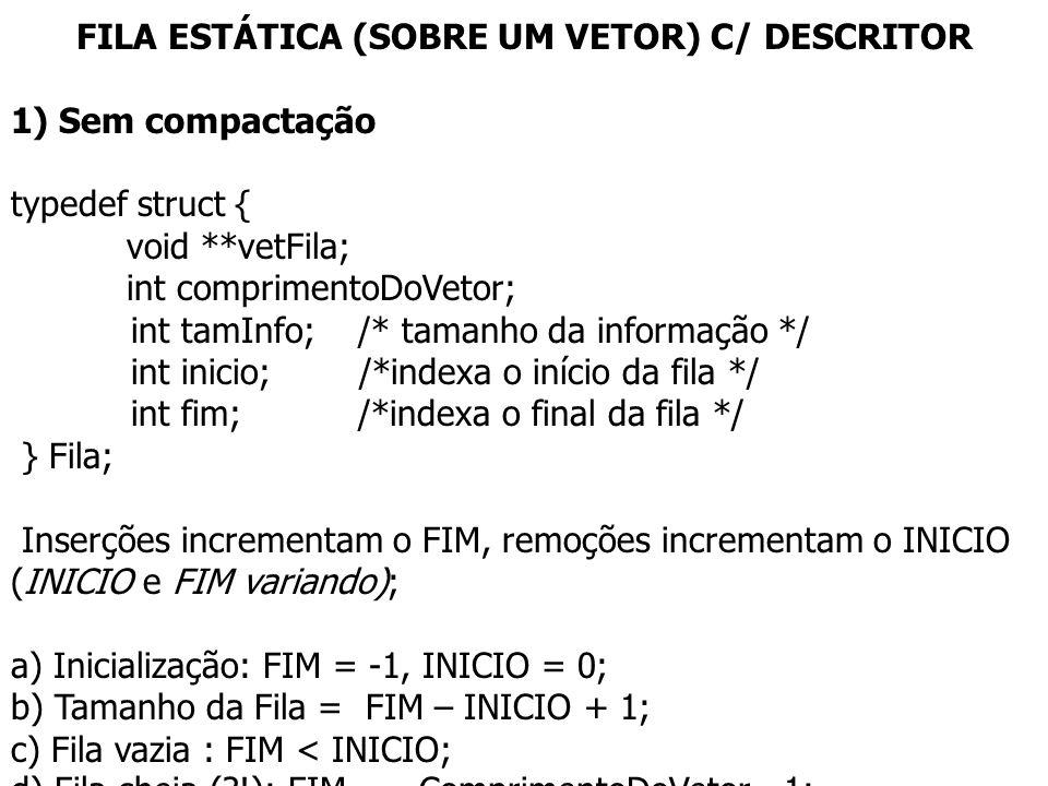 FILA ESTÁTICA (SOBRE UM VETOR) C/ DESCRITOR 1) Sem compactação typedef struct { void **vetFila; int comprimentoDoVetor; int tamInfo; /* tamanho da inf