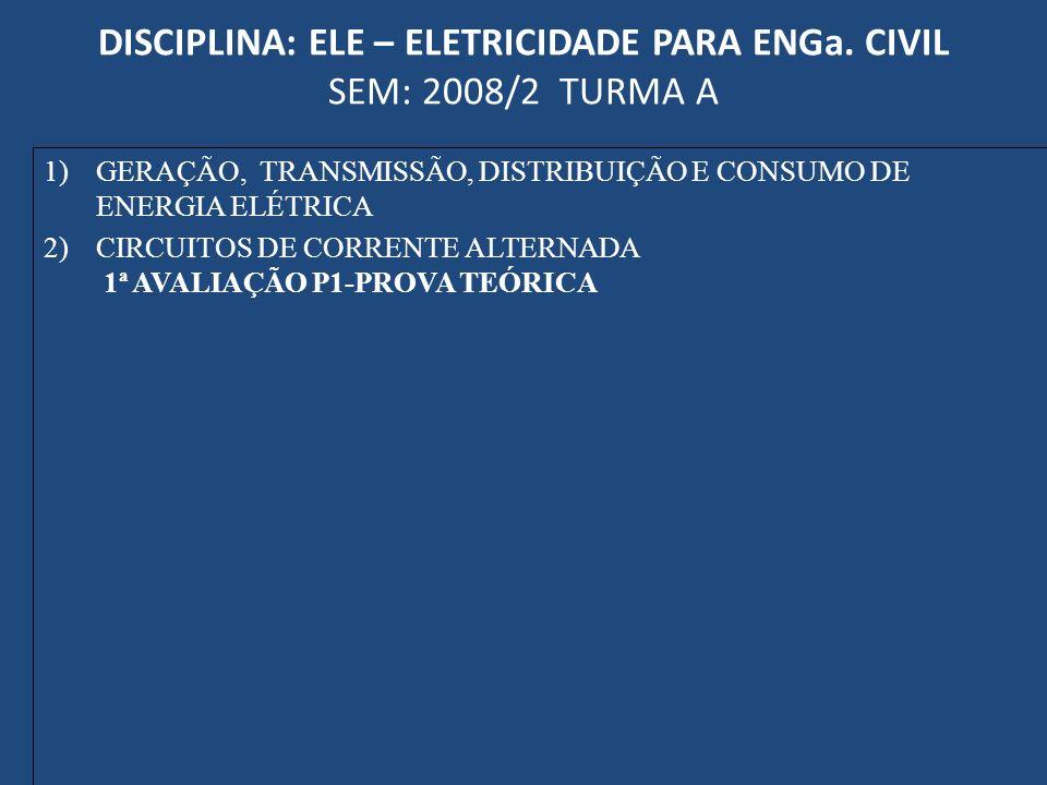 DISCIPLINA: ELE – ELETRICIDADE PARA ENGa. CIVIL SEM: 2008/2 TURMA A 1)GERAÇÃO, TRANSMISSÃO, DISTRIBUIÇÃO E CONSUMO DE ENERGIA ELÉTRICA 2)CIRCUITOS DE