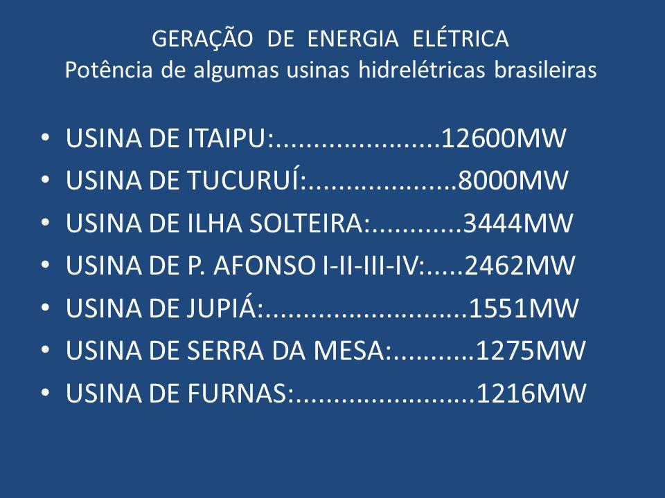 GERAÇÃO DE ENERGIA ELÉTRICA Potência de algumas usinas hidrelétricas brasileiras USINA DE ITAIPU:......................12600MW USINA DE TUCURUÍ:......