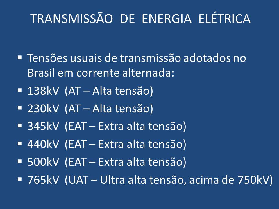 TRANSMISSÃO DE ENERGIA ELÉTRICA Tensões usuais de transmissão adotados no Brasil em corrente alternada: 138kV (AT – Alta tensão) 230kV (AT – Alta tens