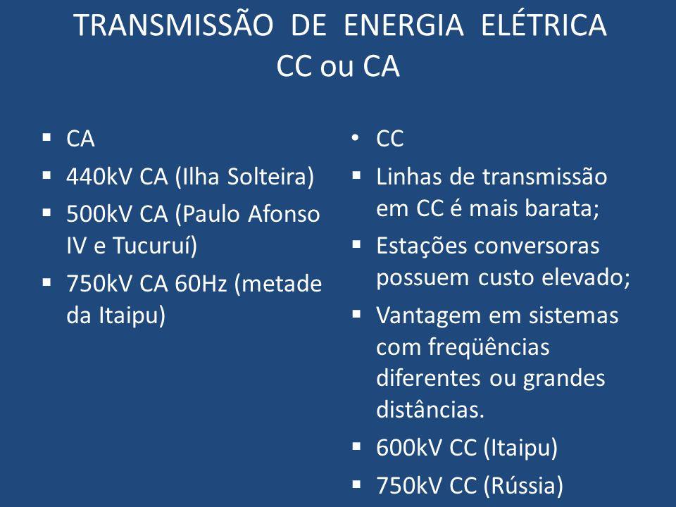 TRANSMISSÃO DE ENERGIA ELÉTRICA CC ou CA CA 440kV CA (Ilha Solteira) 500kV CA (Paulo Afonso IV e Tucuruí) 750kV CA 60Hz (metade da Itaipu) CC Linhas d