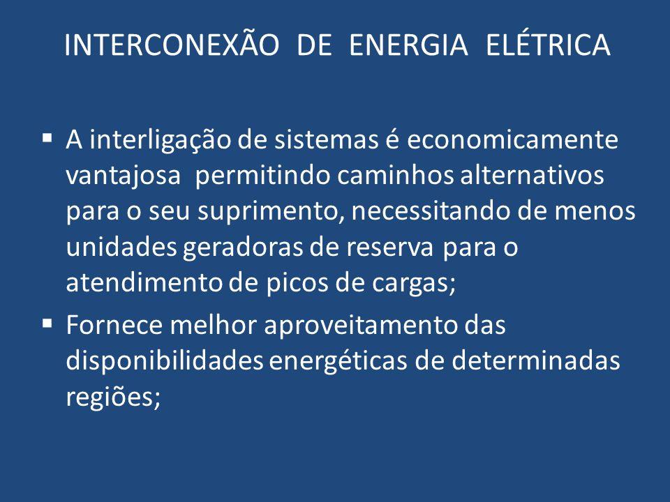 INTERCONEXÃO DE ENERGIA ELÉTRICA A interligação de sistemas é economicamente vantajosa permitindo caminhos alternativos para o seu suprimento, necessi