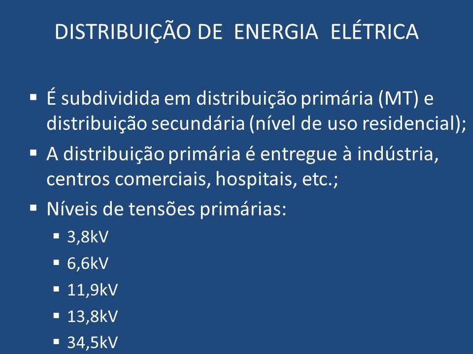 DISTRIBUIÇÃO DE ENERGIA ELÉTRICA É subdividida em distribuição primária (MT) e distribuição secundária (nível de uso residencial); A distribuição prim