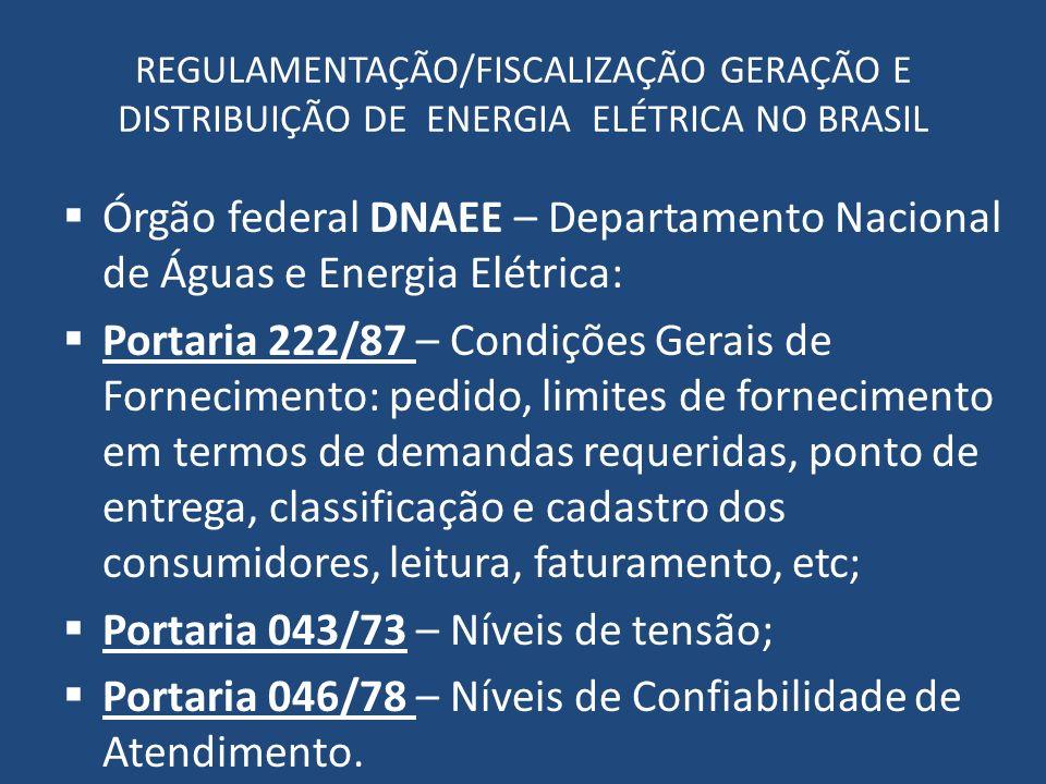 REGULAMENTAÇÃO/FISCALIZAÇÃO GERAÇÃO E DISTRIBUIÇÃO DE ENERGIA ELÉTRICA NO BRASIL Órgão federal DNAEE – Departamento Nacional de Águas e Energia Elétri