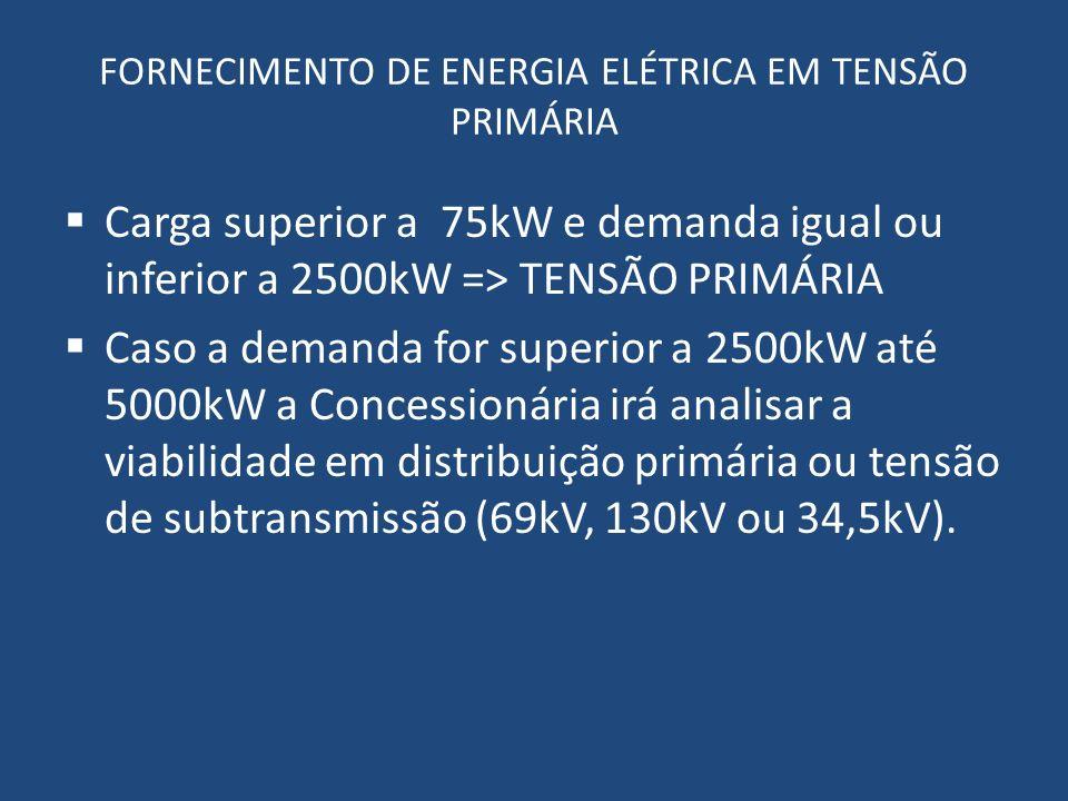 FORNECIMENTO DE ENERGIA ELÉTRICA EM TENSÃO PRIMÁRIA Carga superior a 75kW e demanda igual ou inferior a 2500kW => TENSÃO PRIMÁRIA Caso a demanda for s