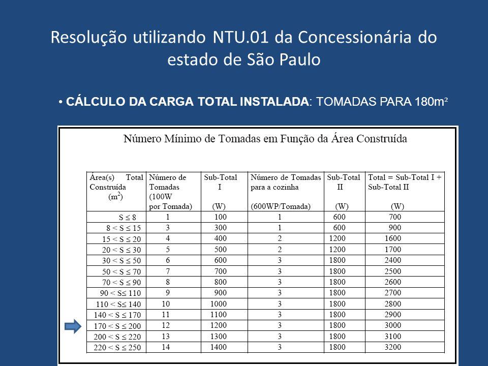 Resolução utilizando NTU.01 da Concessionária do estado de São Paulo CÁLCULO DA CARGA TOTAL INSTALADA: TOMADAS PARA 180m ²