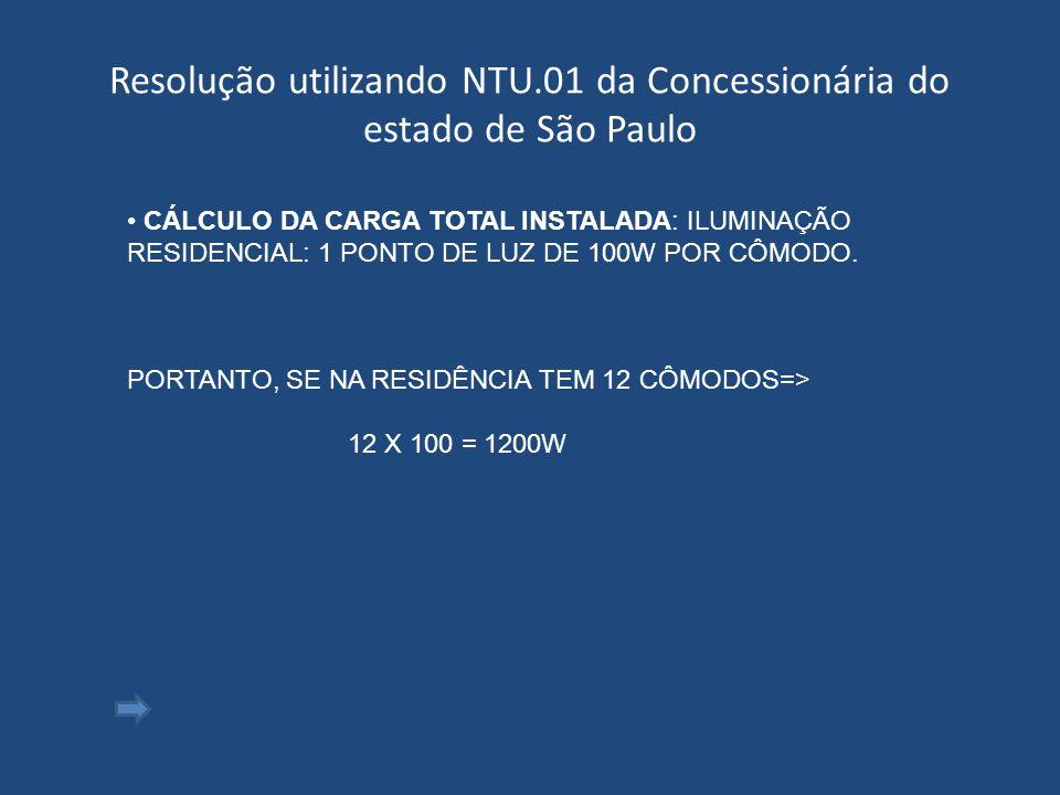 Resolução utilizando NTU.01 da Concessionária do estado de São Paulo CÁLCULO DA CARGA TOTAL INSTALADA: ILUMINAÇÃO RESIDENCIAL: 1 PONTO DE LUZ DE 100W