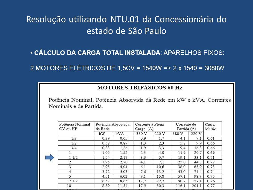 Resolução utilizando NTU.01 da Concessionária do estado de São Paulo CÁLCULO DA CARGA TOTAL INSTALADA: APARELHOS FIXOS: 2 MOTORES ELÉTRICOS DE 1,5CV =