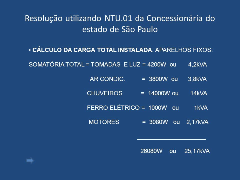 Resolução utilizando NTU.01 da Concessionária do estado de São Paulo CÁLCULO DA CARGA TOTAL INSTALADA: APARELHOS FIXOS: SOMATÓRIA TOTAL = TOMADAS E LU