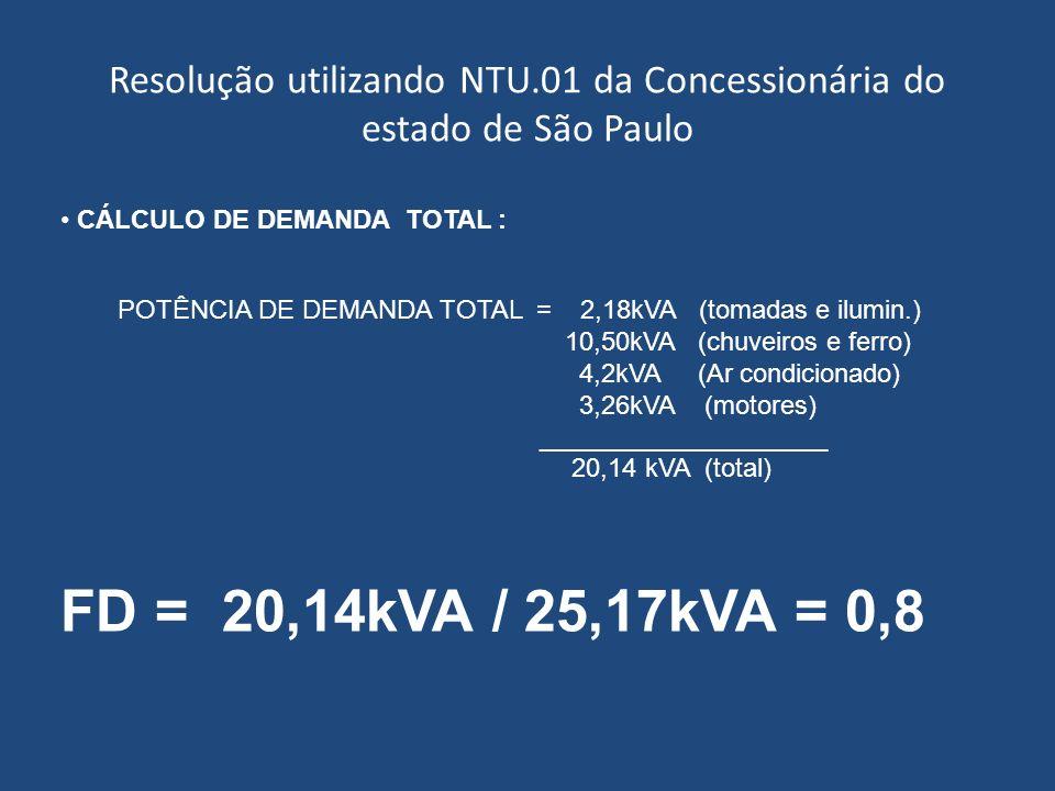 Resolução utilizando NTU.01 da Concessionária do estado de São Paulo CÁLCULO DE DEMANDA TOTAL : POTÊNCIA DE DEMANDA TOTAL = 2,18kVA (tomadas e ilumin.