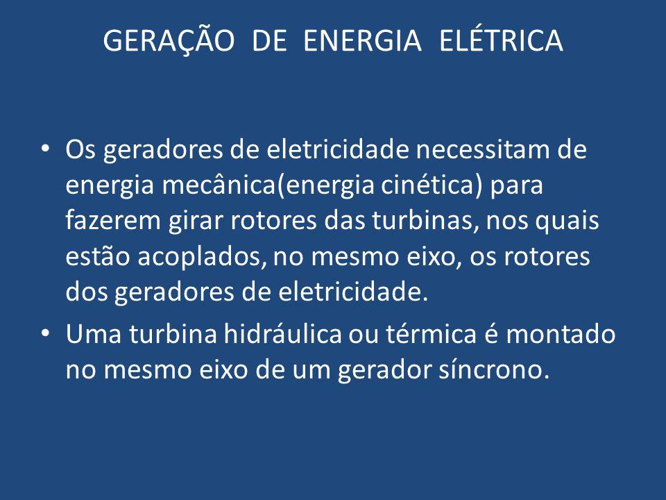 GERAÇÃO DE ENERGIA ELÉTRICA Os geradores de eletricidade necessitam de energia mecânica(energia cinética) para fazerem girar rotores das turbinas, nos