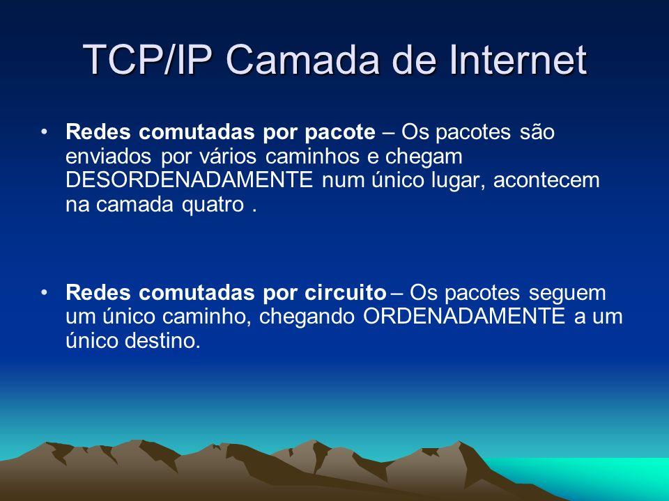 TCP/IP Camada de Internet Redes comutadas por pacote – Os pacotes são enviados por vários caminhos e chegam DESORDENADAMENTE num único lugar, acontece