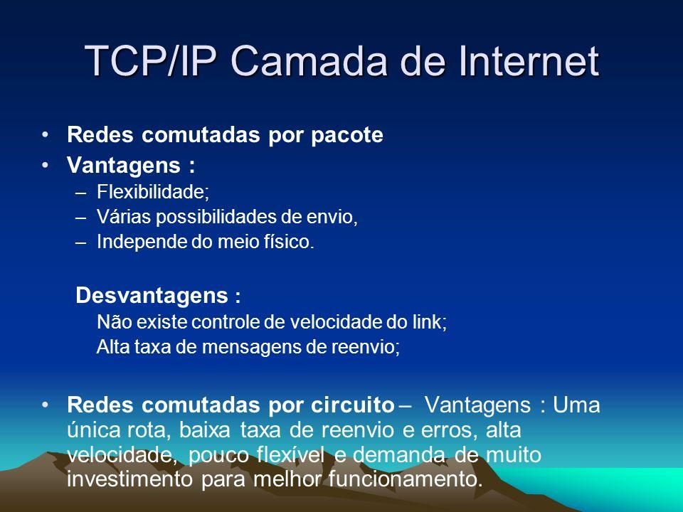 TCP/IP Camada de Internet Redes comutadas por pacote Vantagens : –Flexibilidade; –Várias possibilidades de envio, –Independe do meio físico. Desvantag