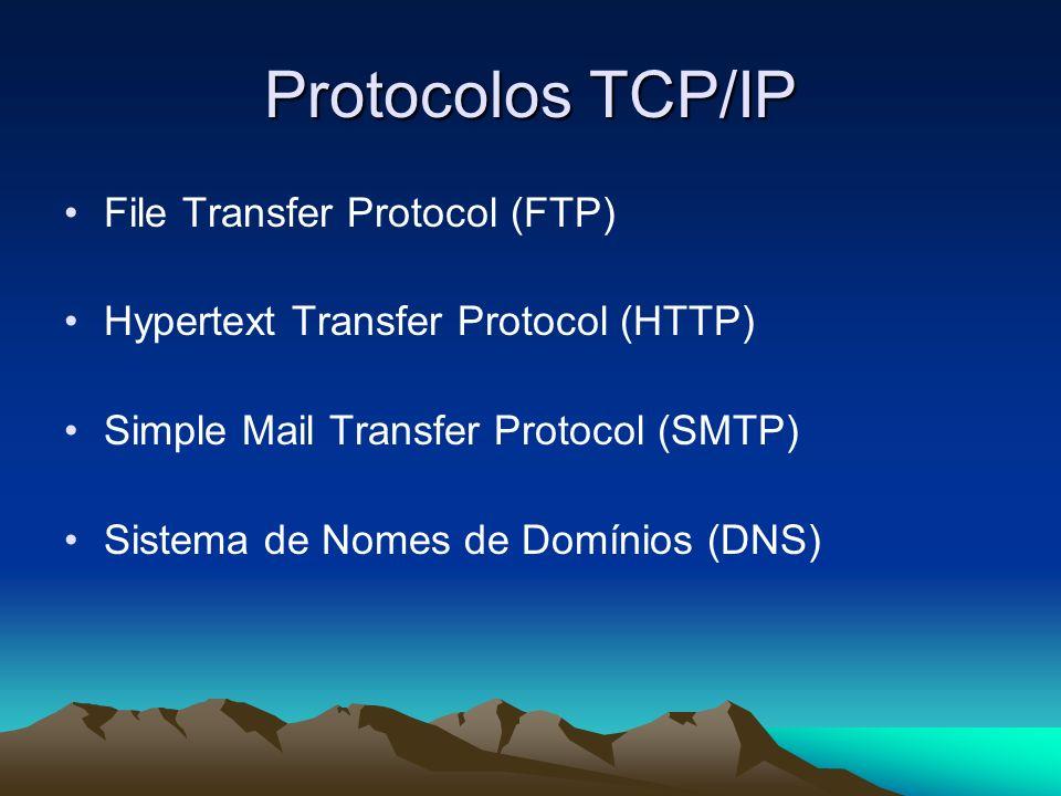 Protocolos TCP/IP File Transfer Protocol (FTP) Hypertext Transfer Protocol (HTTP) Simple Mail Transfer Protocol (SMTP) Sistema de Nomes de Domínios (D