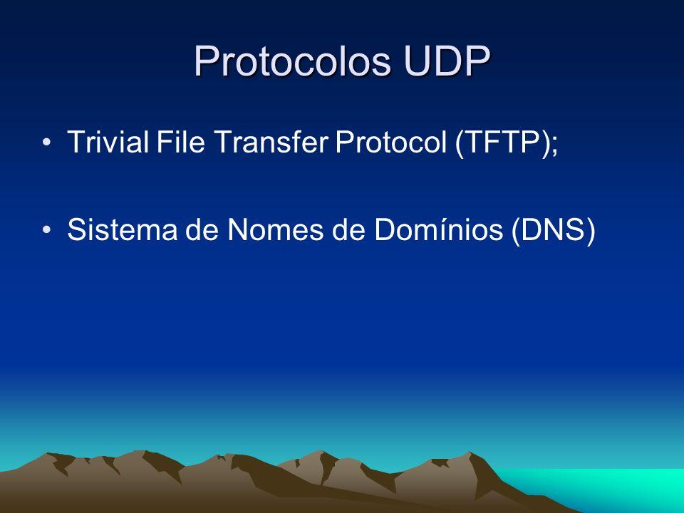 Protocolos UDP Trivial File Transfer Protocol (TFTP); Sistema de Nomes de Domínios (DNS)