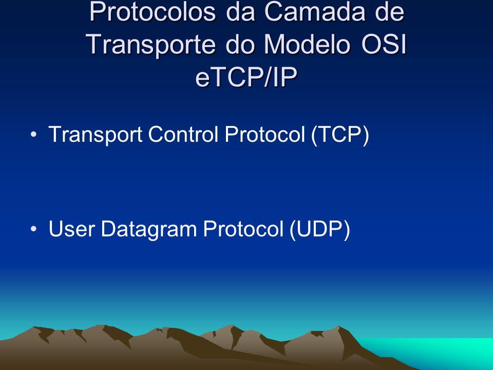 Protocolos da Camada de Transporte do Modelo OSI eTCP/IP Transport Control Protocol (TCP) User Datagram Protocol (UDP)