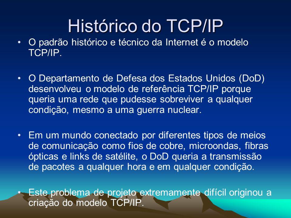 Histórico do TCP/IP O padrão histórico e técnico da Internet é o modelo TCP/IP. O Departamento de Defesa dos Estados Unidos (DoD) desenvolveu o modelo