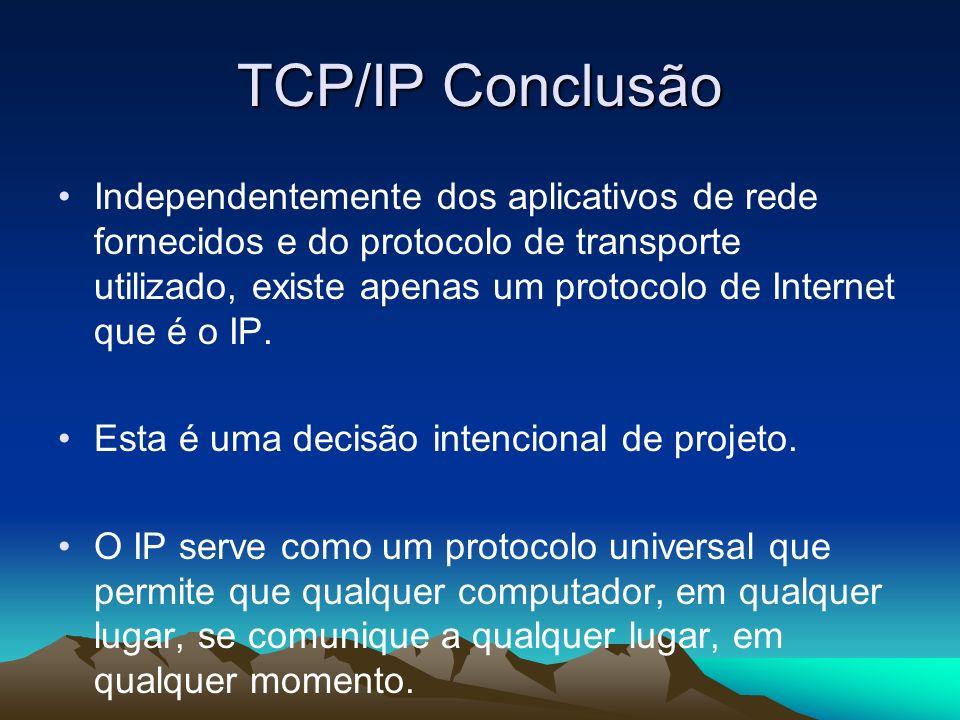 TCP/IP Conclusão Independentemente dos aplicativos de rede fornecidos e do protocolo de transporte utilizado, existe apenas um protocolo de Internet q