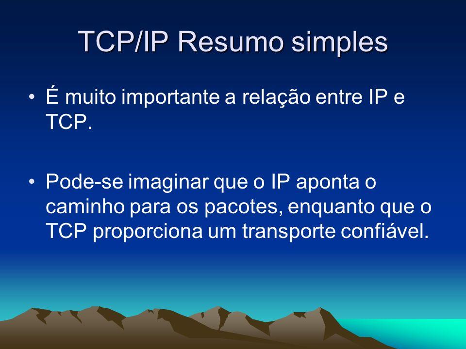 TCP/IP Resumo simples É muito importante a relação entre IP e TCP. Pode-se imaginar que o IP aponta o caminho para os pacotes, enquanto que o TCP prop