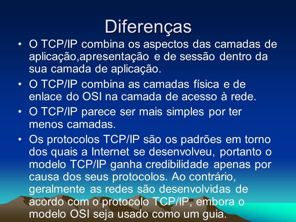 Diferenças O TCP/IP combina os aspectos das camadas de aplicação,apresentação e de sessão dentro da sua camada de aplicação. O TCP/IP combina as camad