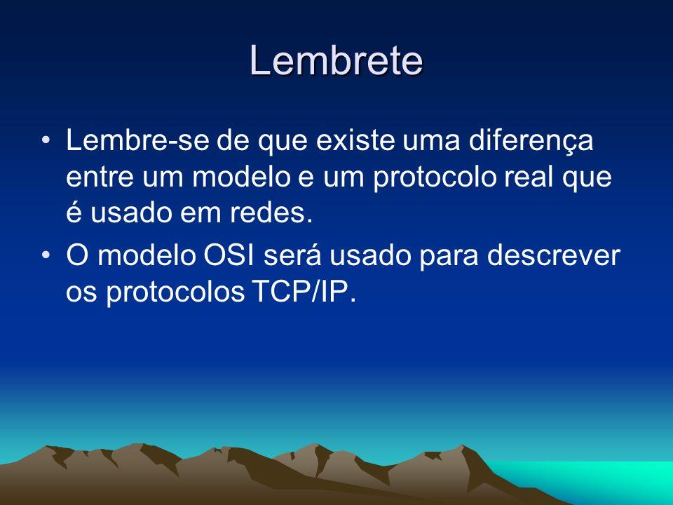 Lembrete Lembre-se de que existe uma diferença entre um modelo e um protocolo real que é usado em redes. O modelo OSI será usado para descrever os pro