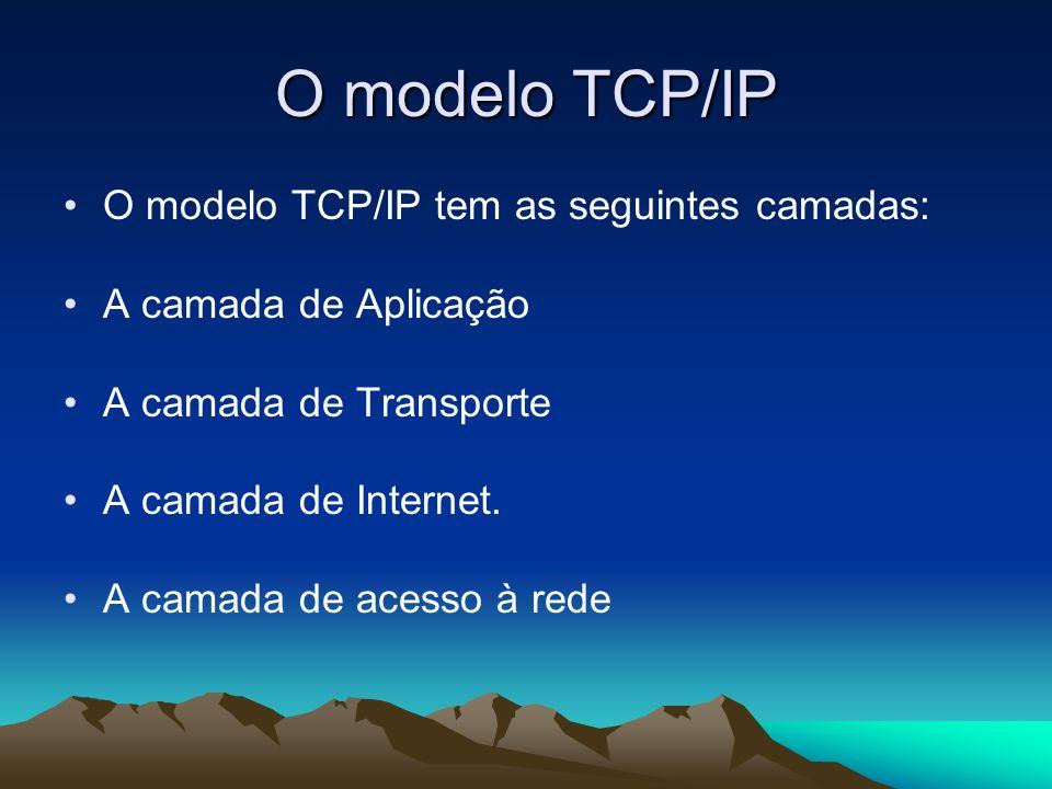 O modelo TCP/IP O modelo TCP/IP tem as seguintes camadas: A camada de Aplicação A camada de Transporte A camada de Internet. A camada de acesso à rede