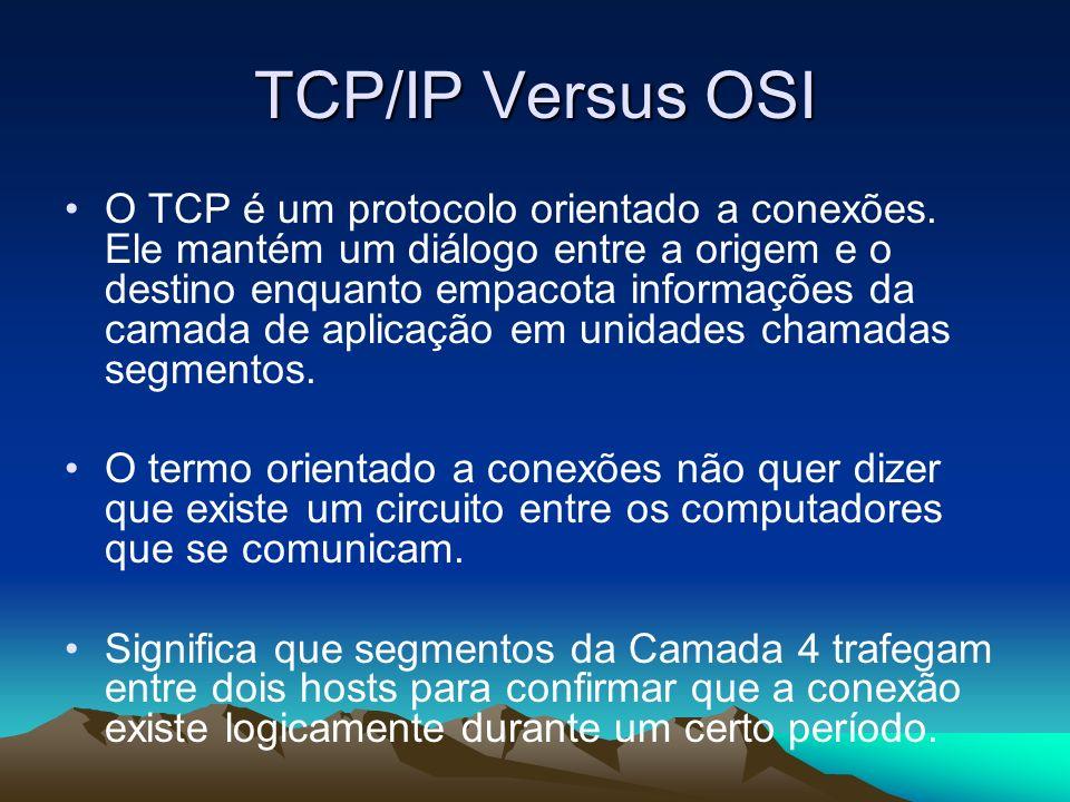 TCP/IP Versus OSI O TCP é um protocolo orientado a conexões. Ele mantém um diálogo entre a origem e o destino enquanto empacota informações da camada