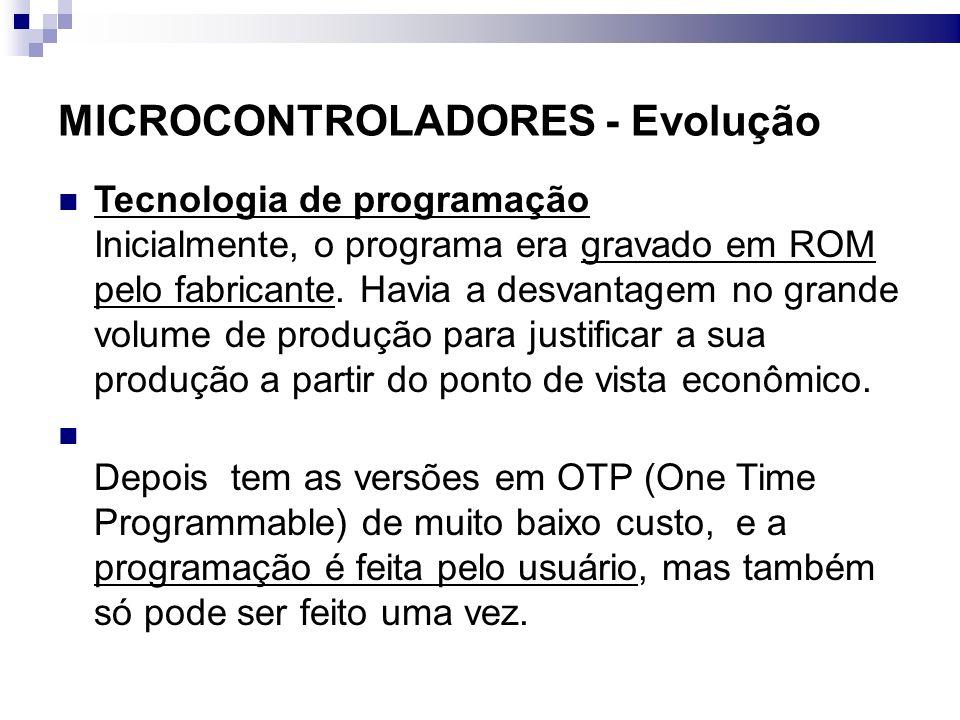 MICROCONTROLADORES - Evolução Tecnologia de programação Surgiu depois uma programação alternativa em EPROM.