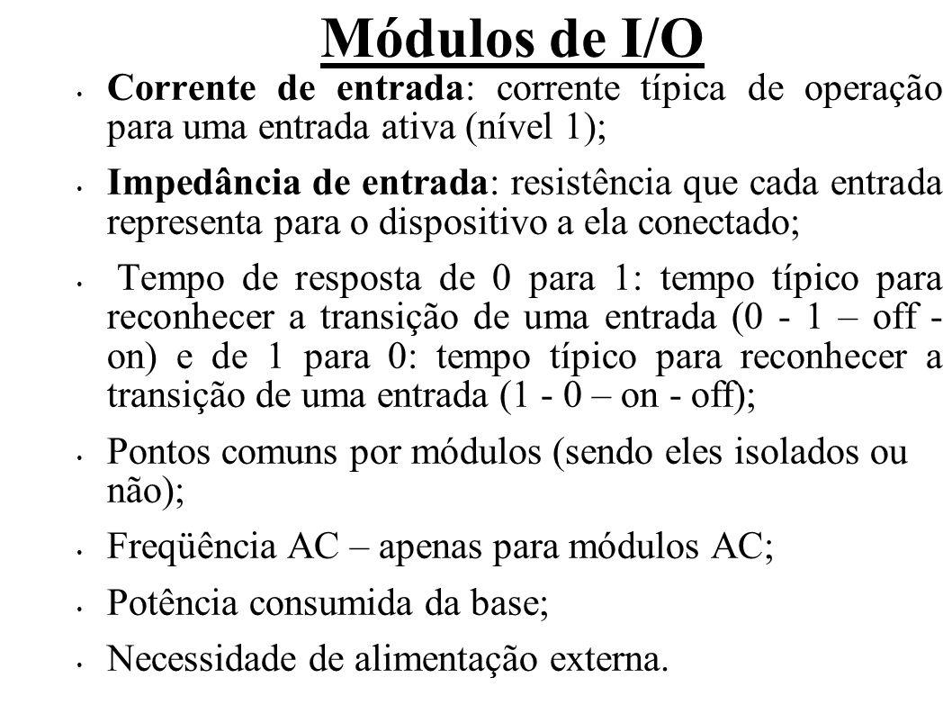Módulos de I/O Os módulos discretos de saída, em geral, apresentam as seguintes características: Quantidade de pontos disponíveis (4, 8, 16, 32 ou 64); Tipo e faixa de tensão das saídas: AC (Triac ou SCR – 24, 110 ou 220V), DC (Transistor bipolar ou Mosfet – 5, 12, 24, 125V) ou relé (AC e DC); As saídas podem ser do tipo sinking (consumidora de corrente – comum negativo) ou sourcing (fornecedora de corrente – comum positivo).