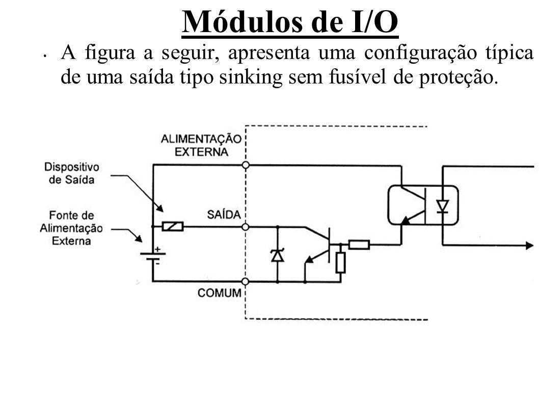 Módulos de I/O Além da quantidade de pontos, tipo e tensão, os seguintes itens são normalmente apresentados e devem ser observados para uma configuração adequada: Tensão de pico, com limite de tempo; Queda de tensão (tensão de saturação), indica a tensão medida entre um ponto de saída (enquanto acionado) e o comum, com carga máxima; Corrente máxima (para cargas resistivas); Corrente de pico (com pequeno tempo – durante a transição de 0 para 1.