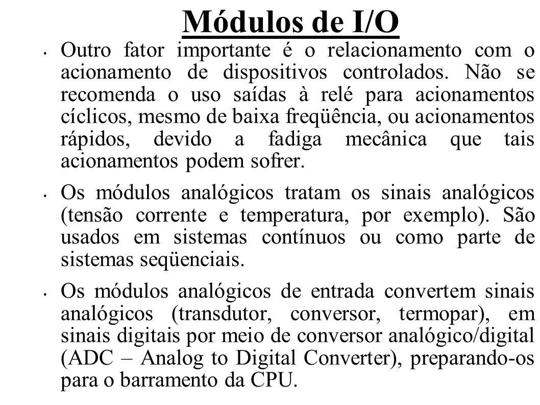 Módulos de I/O Os módulos analógicos de saída convertem sinais digitais, disponíveis no barramento da CPU, em sinais analógicos por meio de conversor digital/analógico (DAC – Digital to Analog Converter), enviando-os aos dispositivos de saída (driver, amplificador).