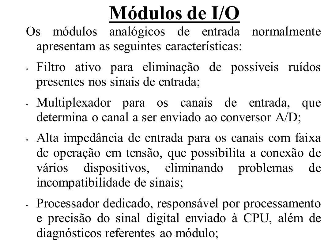 Módulos de I/O Quantidade de canais disponíveis – 2, 4, 8, ou 16; Tipo e faixa de operação dos canais: corrente (0- 20mA, 4-20mA), tensão (0-5V, ±5V, 0-10V, ±10V, etc); Um mesmo módulo pode operar em mais de uma faixa, a qual é selecionada por dip-switches ou jumpers internos ao módulo.