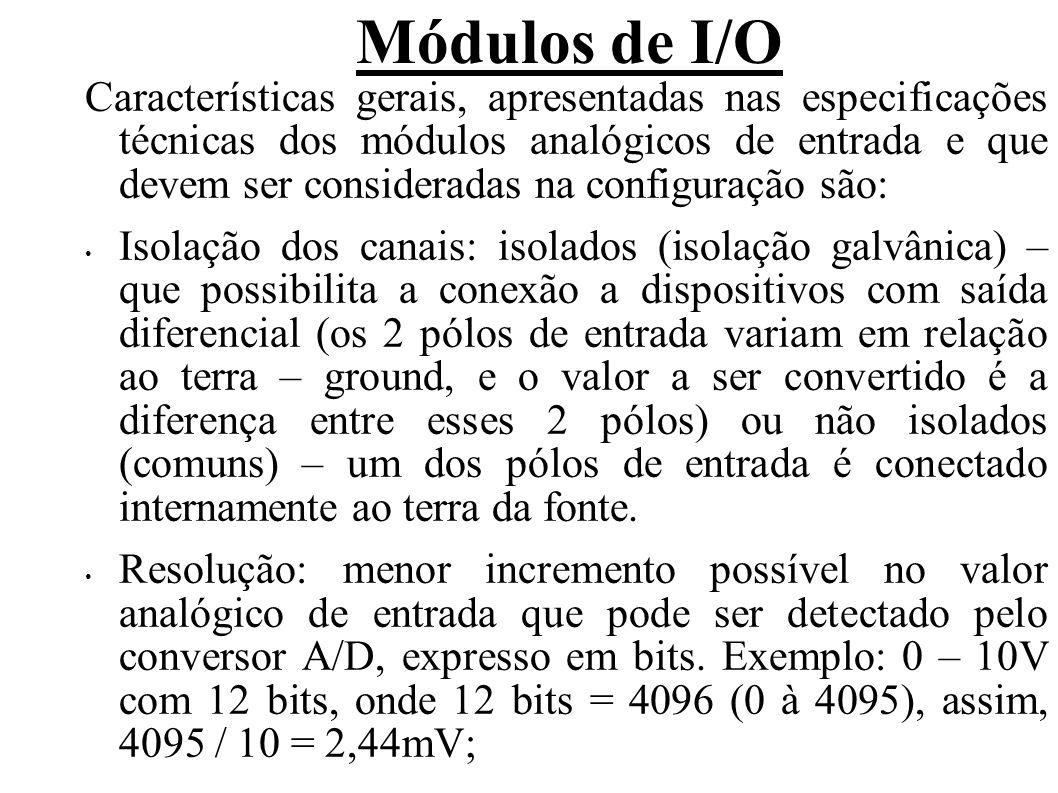Módulos de I/O Tipo de conversão: método usado para converter o sinal analógico em digital, sendo a maioria dos casos por aproximação sucessiva; Razão de atualização: tempo necessário para que os sinais analógicos sejam digitalizados e enviados à CPU, expresso em canal (is) / scan.