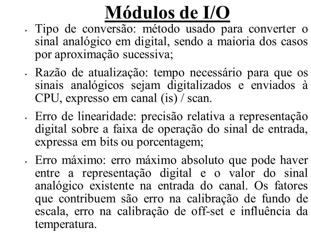 Módulos de I/O Tipo de conversão: método usado para converter o sinal analógico em digital, sendo a maioria dos casos por aproximação sucessiva; Razão
