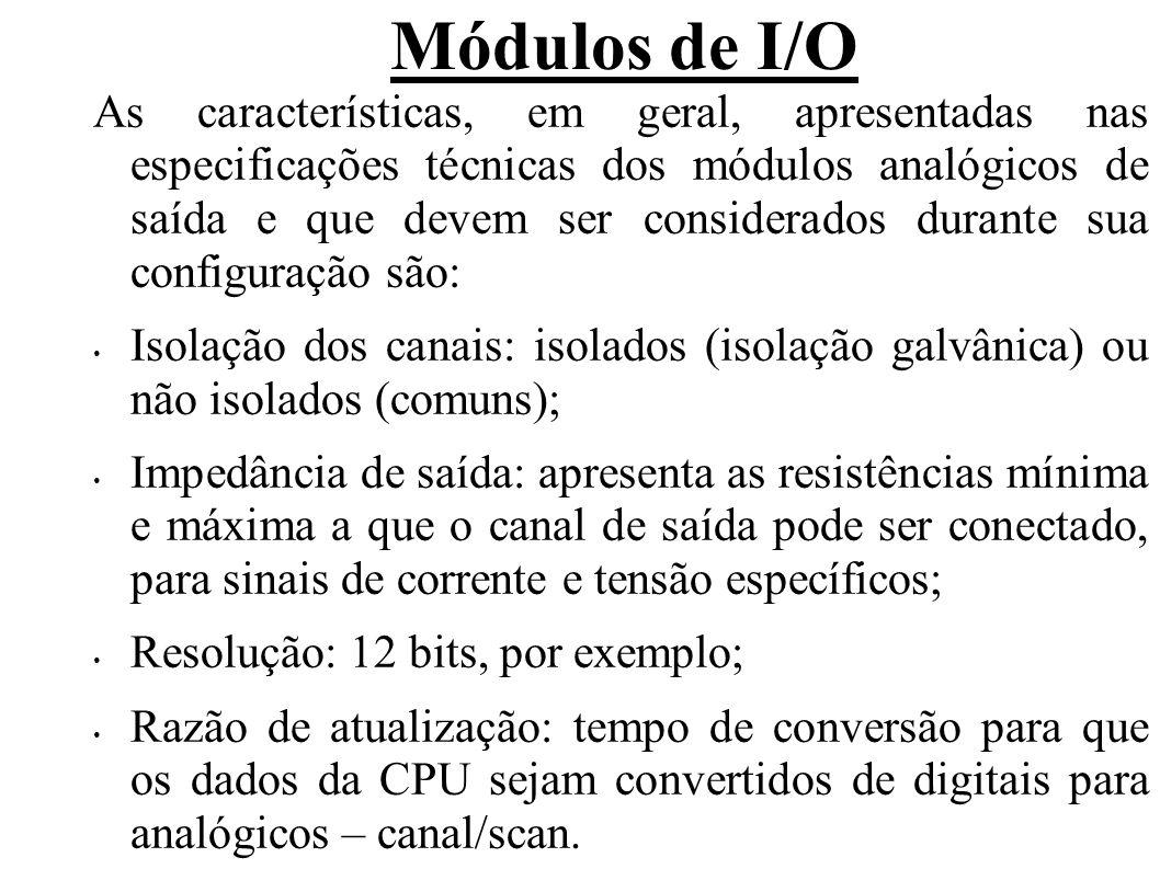 Módulos de I/O Erro de linearidade em % ou em bits: precisão relativa a representação digital sobre a faixa de operação do sinal de saída.