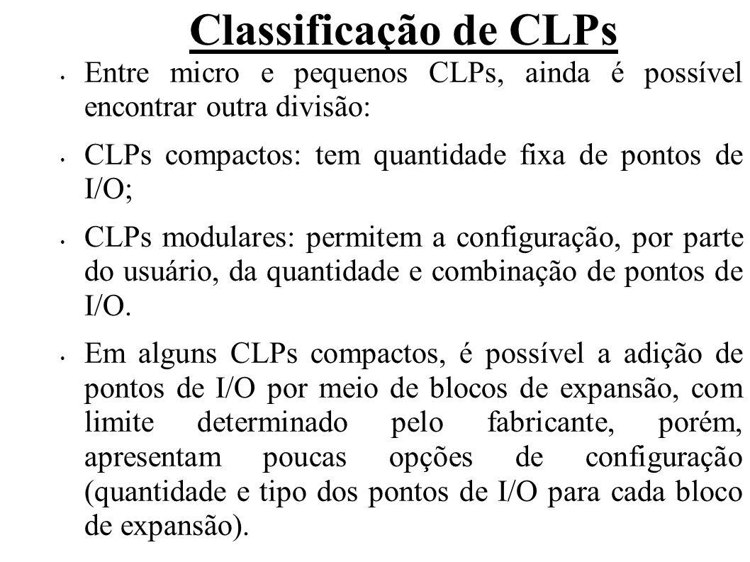 Classificação de CLPs Entre micro e pequenos CLPs, ainda é possível encontrar outra divisão: CLPs compactos: tem quantidade fixa de pontos de I/O; CLP